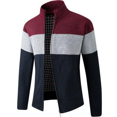 DSB15-6618 Men Stand Collar Sweater Cardigan Jacket Coat