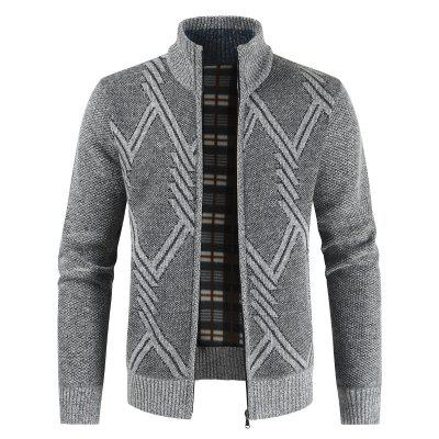 1808-DL304 Men Geometric Graphic Casual Thicken Stand Collar Cardigan Knit Jacket Sweater Coat