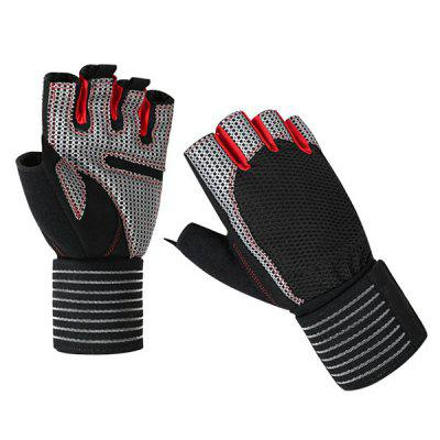 Hand Palm Silicone Microfiber Wear-resistant and Breathable Half-finger Fitness Gloves Long Wristband Non-slip Sports