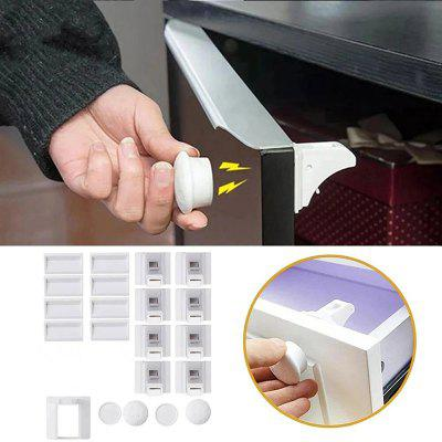 Child Safe Drawer Safety Lock Built-in Magnetic Locks Non-marking Glue Punch-free Installation