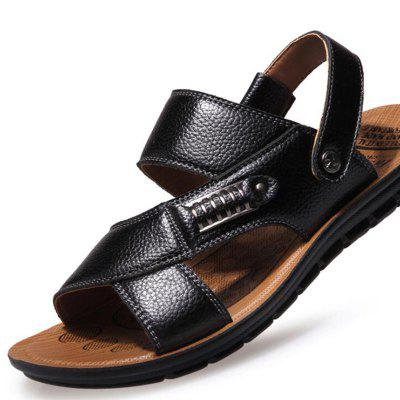 SYXZ 469 Cowhide Beach Shoes Casual Breathable Non-slip Mens Sandals
