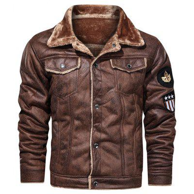 Mens Casual Jacket Turn-down Collar Plush Thick Deerskin Coat For Autumn and Winter