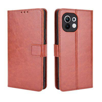 ASLING PU Leather Cover with Holder Wallet Card Slots Storage Phone Case for Xiaomi Mi 11 pu card case