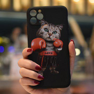 C1220-01420BK2 Boxing Cat Matte Painted Soft Mobile Phone Case for iPhone 11 / Pro Max 12 Mini