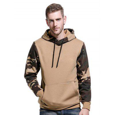 Camouflage Color Block Sweatshirt Men Autumn Winter Hooded Loose Plus Size