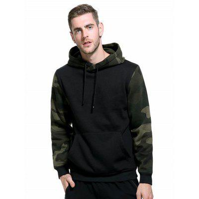 Camouflage Block Sweatshirt Men Autumn Winter Hooded Loose Plus Size
