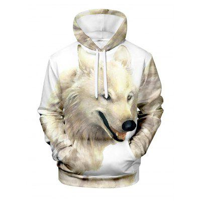 Fashion Novelty Mens Sweatshirt Casual Animal 3D Printing Hoodie - Wolf