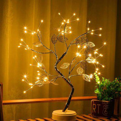 LED Gold Leaf Copper Wire Tree Lamp Room Living Decoration Night Light Battery Box