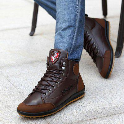 Mens Leather Shoes Soft Bottom Lightweight Comfortable Male Bean Lace-UP Casual Footwear