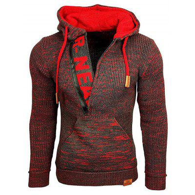 SY0002 Autumn and Winter Mixed Color Long Sleeve Mens Sweater Hooded Pullover Knitted Coat