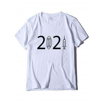 Unisex T-shirt 2021 M-ask Needle Crewneck Loose Casual Tee