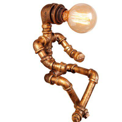 sgrow robot table lamp creative loft iron pipe lamp desk light for bedroom beside light cafe bar lampara de mesa water pipe lamp Retro Table Lamp Standing Lamp Industrial Style Personality Creative Iron Pipe Design