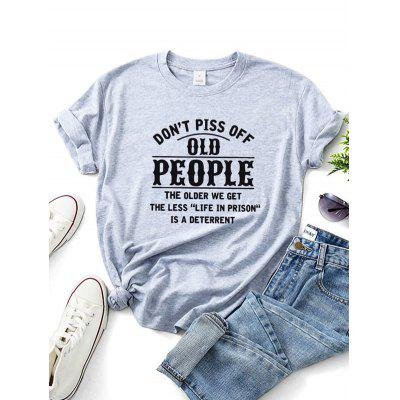 Dont Piss Off Old People Graphic T-shirt Large Size Casual Tee for Men and Women