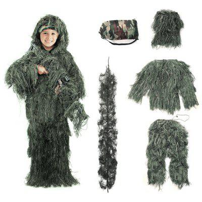 Childrens Camouflage Ghillie Suit Outdoor Fitting Clothing Full Set Jungle Clothes