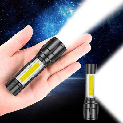 Mini Glare Flashlight Rechargeable Home Outside Small LED Long Shot with Side Light USB Pocket Portable