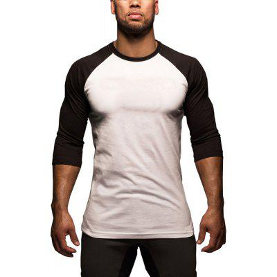 Men Spring Summer Fashion Color Block Round Neck Long Sleeve Casual Slim T-shirt