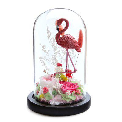 Valentines Day Gift Preserved Flower Finished Borosilicate Glass Cover Christmas Box Flamingo Aromatherapy Bag Holiday Party Decoration