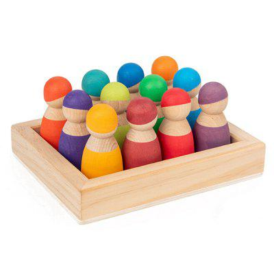 Rainbow Blocks Series 12-color Small Figure Set Wooden Tray Children Educational Toys