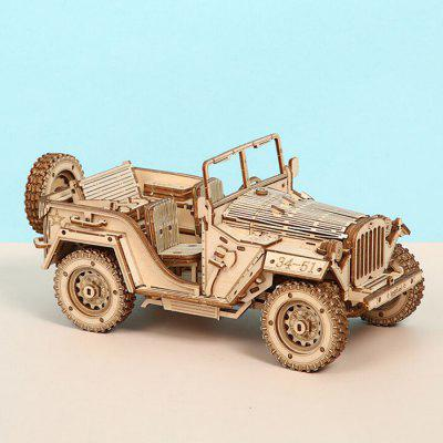 Wooden Block Toy Handmade Assembled Jeep DIY Children Adult 3D Model