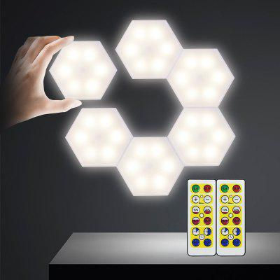 4000K DIY Battery Cabinet Wall Light Creative Infrared Remote Control Night 6PCS