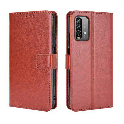 ASLING Crazy Horse Pattern Series Phone Case with Stand Credit Card Slot Wallet Leather Shell for Xiaomi Redmi 9T