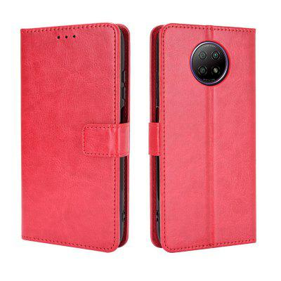 ASLING Crazy Horse Pattern Series Phone Case with Stand Credit Card Slot Wallet Leather Shell for Xiaomi Redmi Note 9T