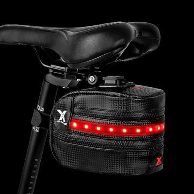 Bicycle Tail Bag with LED Light Storage Package Equipment Riding Pack Rear Seat Bike Saddle