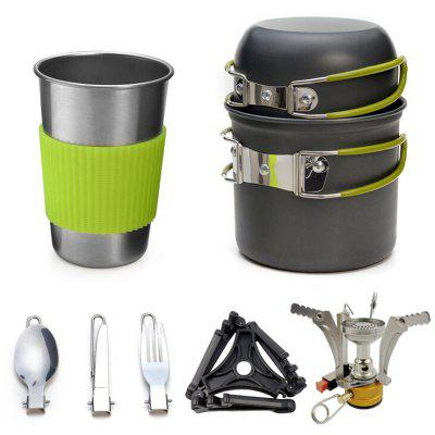 Outdoor Cookware Set 1-2 People Camping Stove Combination Portable Wild Menu Tableware