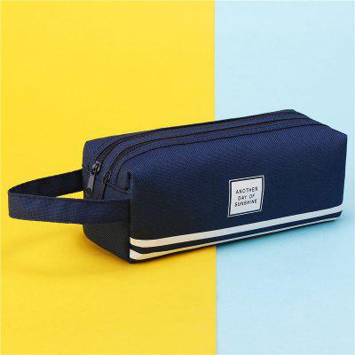 BD-05089 Large Capacity Double Canvas Pencil Bag Simple Stationery Case