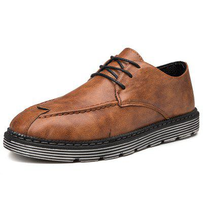 Mens Business Casual Shoes Retro British Leather