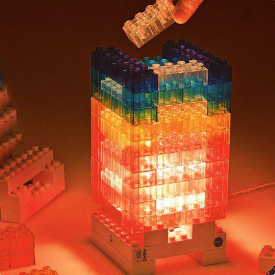 LED Luminous Building Block Table Lamp DIY USB Module 76pcs