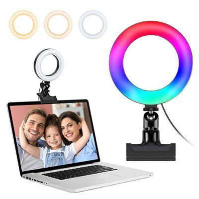 8-inch Laptop RGB Ring Light with Clip Video Conferencing LED Lighting Kit 10 Levels for Remote Meeting YouTube Selfie Makeup Live Streaming Business Calls