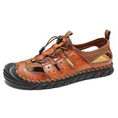 Men Beach Shoes Summer Outdoor Sandals Large Size Breathable Round Toe Stitching Casual Footwear