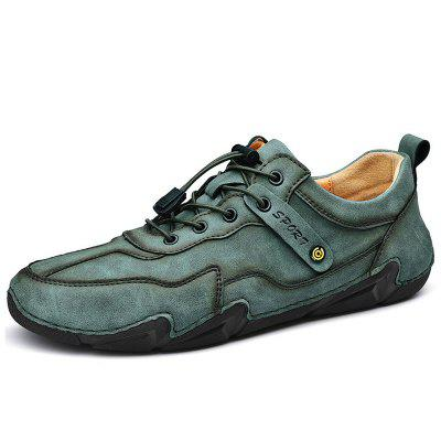 Mens Leather Shoes British Style Casual Driving Peas