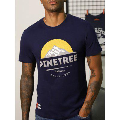Men Printed Round Neck Short Sleeve T-shirt Motorcycle Style Breathable Cool Half Tops