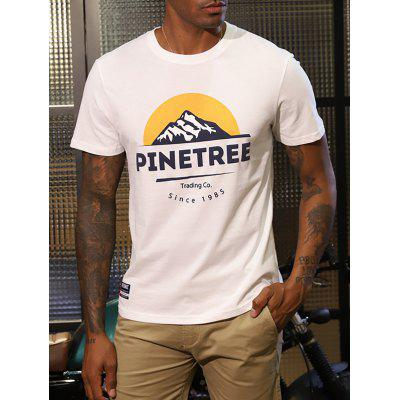 Men Printed Round Neck Short Sleeve T-shirt Motorcycle Style Breathable Half Tops