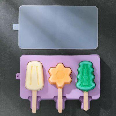 Silicone Ice Cream Mold Popsicle Molds DIY Homemade 3 Box Cartoon Maker Mould for Home Kitchen Food