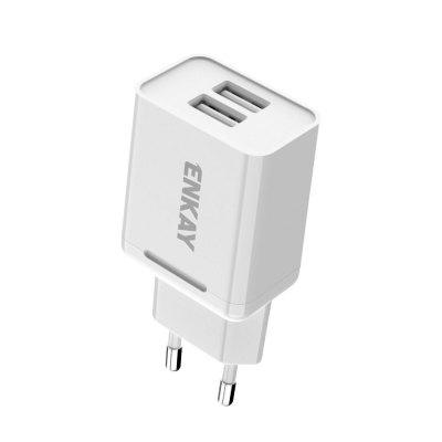 ENKAY Hat-Prince EU Plug Dual USB 2.0 Charging Head 10.5W 2.1A Charger Power Adapter