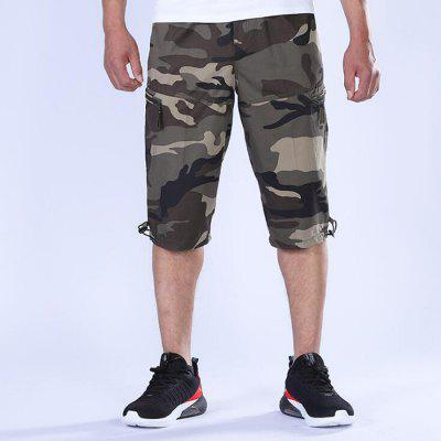 Summer Men Tooling Shorts Camouflage Casual Loose Seven Pants