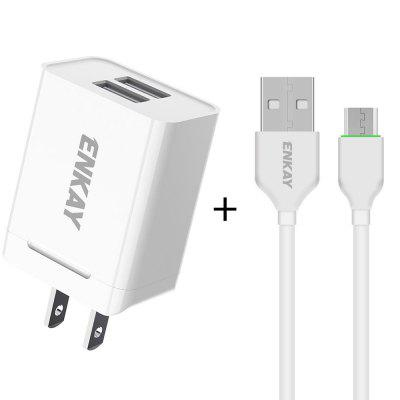 ENKAY Hat-Prince US Plug CN Plug Charging Kit Dual USB 2.0 Charging Head 10.5W 2.1A Power Adapter Charger + 1M 2.1A Type-C Charging Cable