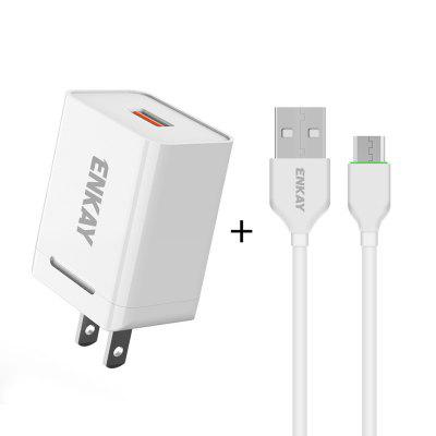 ENKAY Hat-Prince US Plug CN Quick Charging Kit USB 3.0 + Type-C Double Port Head 18W 3A Power Adapter Charger 1M Cable