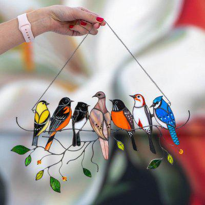 Birds Stained Glass Suncatchers Window Hangings - Mothers Day Gifts