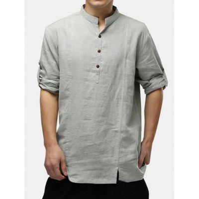 Men Linen Cotton Shirt National Style Three-quarter Sleeve Plain Loose Henley T-Shirt