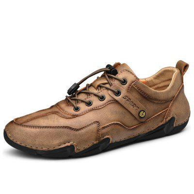Men Leather Shoes British Style Casual Driving Peas