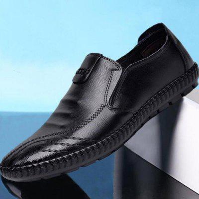 Men PU Leather Casual Footwear Soft Beanie Shoes British Style Lazy Flat