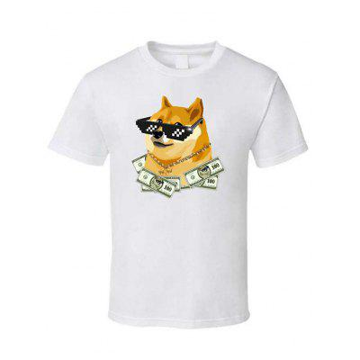 Fashion Summer Men Loose Tide Round Printing Dogcoin Short-sleeved T-shirt