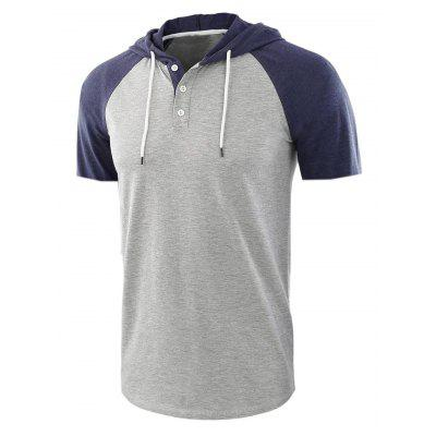 Men Fashion Casual Short-sleeved Hooded T-shirt