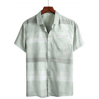 Men Summer Shirt Casual All-match Trend Short Sleeve Striped Slim Tops
