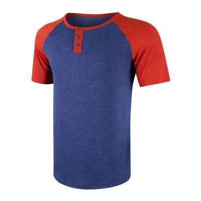 Men Fashion Stitching Casual Short Sleeve T-Shirt