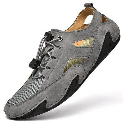 Men Casual Leather Shoes Round Toe Flat Heel Breathable Footwear Outdoor Driving Peas